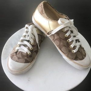 Coach | Gold & Brown Coach Logo Bobbey Sneakers